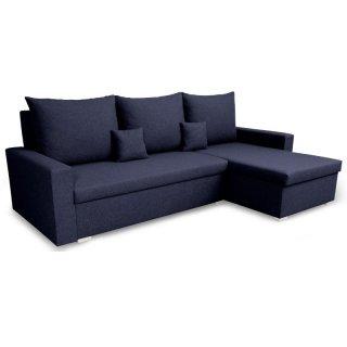 Canapé d'angle réversible et convertible gigogne MONDO bleu nuit couchage 130x190cm