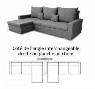 Canapé d'angle réversible et convertible gigogne MONDO gris couchage 130x190cm