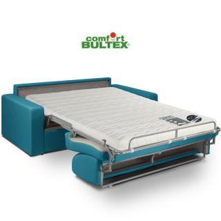 Canapé convertible rapido CRÉPUSCULE matelas 140cm comfort BULTEX® tissu tweed turkis