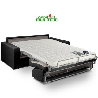 Canapé convertible express CRÉPUSCULE matelas 140cm comfort BULTEX® tissu tweed gris graphite