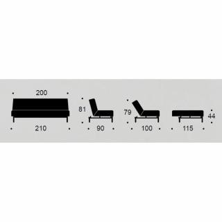 INNOVATION LIVING Canapé BURI Stem tissu Mixed Dance_Gris  convertible lit 115*200 cm piétement chêne