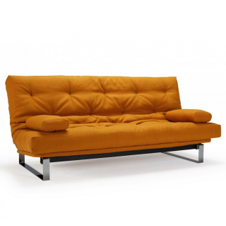 INNOVATION LIVING  Canapé convertible clic-clac MINIMUM lit 140*200 cm capitonné tissu Elegance Curry