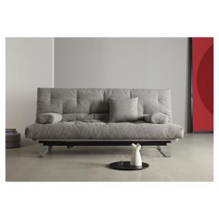 Canapé convertible clic-clac MINIMUM lit 140*200 cm capitonné tissu Melange Light Grey