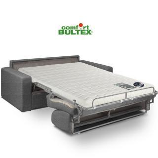 Canapé convertible express CRÉPUSCULE matelas 140cm comfort BULTEX® tissu tweed fashion gris foncé
