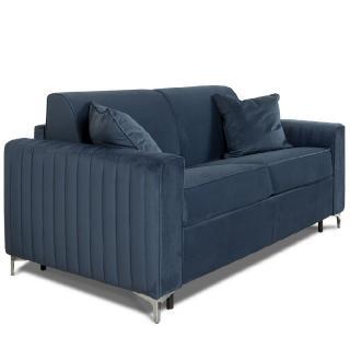 Canapé convertible rapido PRINCE matelas 120cm sommier lattes RENATONISI tête de lit intégrée tissu velours bleu