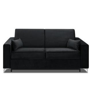 Canapé convertible rapido JACKSON 160cm sommier lattes RENATONISI cuir vachette noir