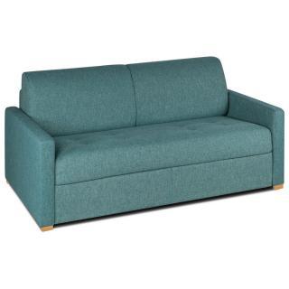 Canapé convertible rapido DANDY matelas 120cm comfort BULTEX®  mono assise capitonnée tweed bleu azur