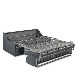 Canapé lit EXPRESSO express compact 140cm matelas 16cm tissu tweed gris graphite