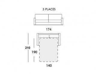 Canapé convertible EXPRESS 140 cm GEMMA matelas 16 cm tissu gris passepoil perle