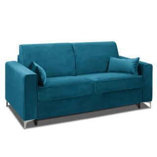 Canapé convertible rapido JACKSON 160cm sommier lattes RENATONISI tissu tweed bleu turquoise