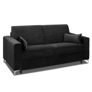 Canapé convertible rapido JACKSON 160cm sommier lattes RENATONISI tissu tweed noir
