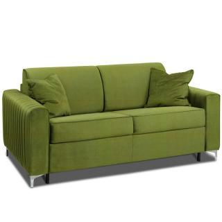 Canapé convertible rapido PRINCE matelas 160cm sommier lattes RENATONISI tête de lit intégrée tissu microfibre vert