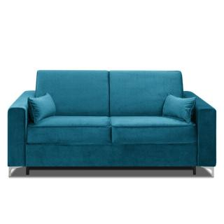 Canapé convertible rapido JACKSON 140cm sommier lattes RENATONISI tissu tweed bleu turquoise