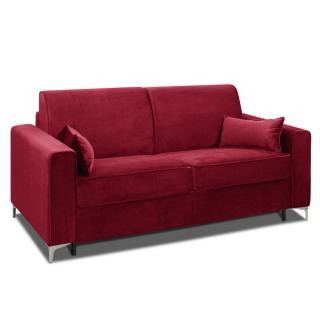 Canapé convertible rapido JACKSON 160cm sommier lattes RENATONISI tissu tweed rouge