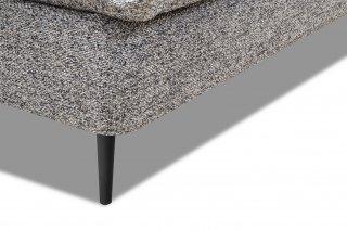 Canapé lit compact 3 places express LISBONNE 140cm sommier à lattes matelas 13cm tissu tweed gris chiné