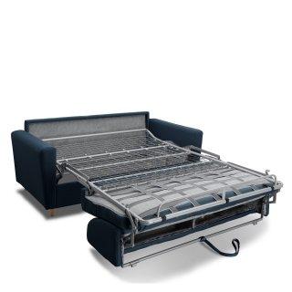 Canapé MEZZANO convertible EXPRESS matelas 16 cm sommier métal 140 cm tissu tweed bleu nuit