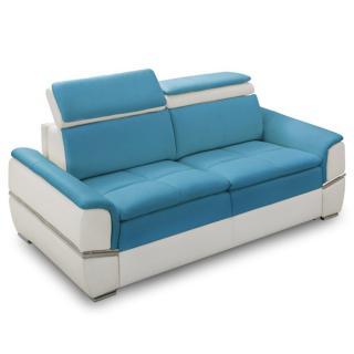 Canapé lit SALTILLO convertible 140cm ouverture RAPIDO matelas 15cm structure nubucka blanc et tissu tweed bleu turquois