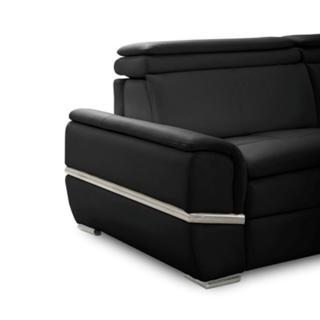 Canapé lit SALTILLO convertible 140cm ouverture RAPIDO matelas 15cm cuir vachette noir