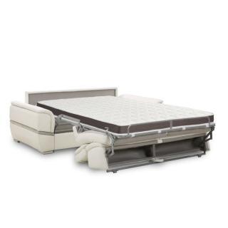 Canapé lit SALTILLO convertible 140cm RAPIDO matelas 15cm cuir recyclé blanc cassé