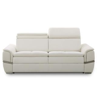 Canapé lit SALTILLO convertible 140cm ouverture RAPIDO matelas 15cm cuir vachette recyclé blanc cassé