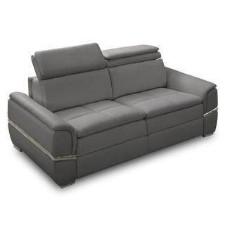 Canapé lit SALTILLO convertible 140cm ouverture RAPIDO matelas 15cm cuir vachette recyclé gris graphite
