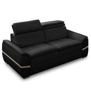 Canapé lit SALTILLO convertible 140cm RAPIDO matelas 15cm cuir vachette recyclé noir