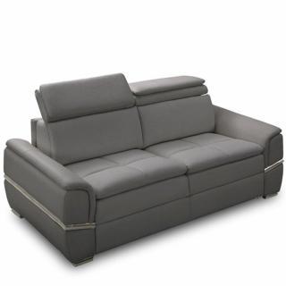 Canapé lit SALTILLO convertible 140cm ouverture RAPIDO matelas 15cm tissu nubucka gris souris