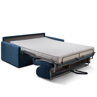 Canapé convertible express SUN LIMITED 140 cm matelas 14 cm velours bleu