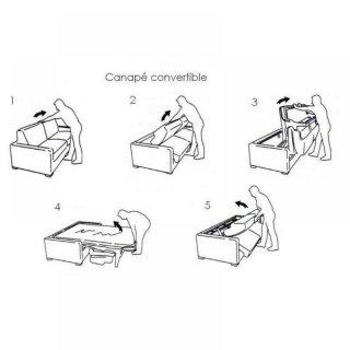 Canapé VIRGOLA convertible express matelas 16 cm sommier lattes 140 cm