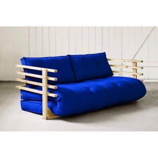 Canapé convertible en pin massif FUNK futon bleu royal couchage 160*190cm