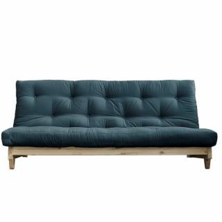 Banquette convertible futon FOLKER bois naturel coloris bleu pétrole couchage 140*200 cm.