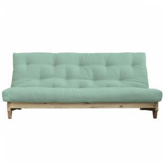 Banquette convertible futon FOLKER bois naturel coloris menthe couchage 140*200 cm.