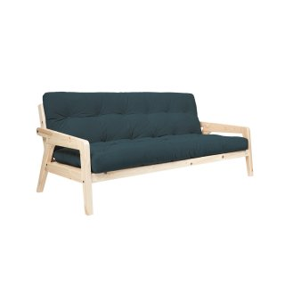 Canapé convertible futon GERDA pin naturel coloris bleu couchage 130 cm.