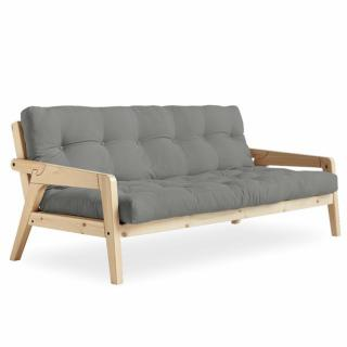 Canapé convertible futon GERDA pin naturel coloris gris couchage 130 cm.