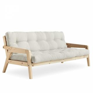Canapé convertible futon GERDA pin naturel coloris naturel couchage 130 cm.