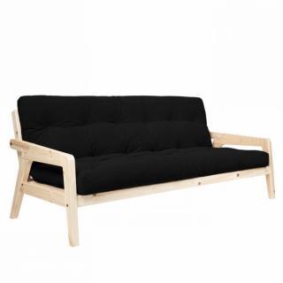 Canapé convertible futon GERDA pin naturel coloris noir couchage 130 cm.