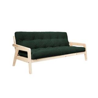 Canapé convertible futon GERDA pin naturel coloris vert foncé couchage 130 cm.