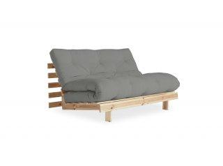 Canapé convertible futon RACINES pin naturel coloris gray couchage 140*200 cm.
