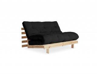 Canapé convertible futon RACINES pin naturel coloris gris foncé couchage 140*200 cm.