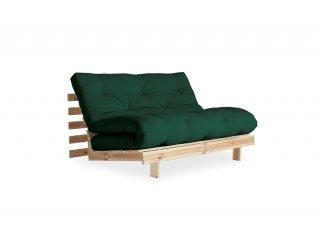 Canapé convertible futon RACINES pin naturel coloris vert forêt couchage 140*200 cm.