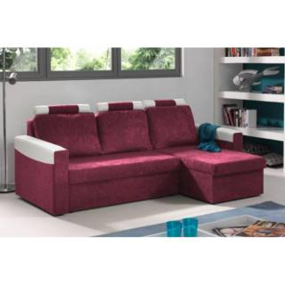 Canapé d'angle convertible express HIMALIA 130cm bi-matière prune et blanc