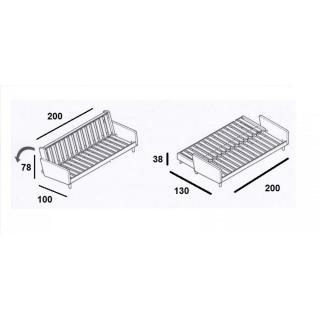 Canapé 3/4 places convertible INDIE style scandinave futon granite grey couchage 130*190cm