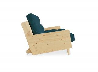 Canapé 3/4 places convertible INGRID style scandinave futon bleu profond couchage 130*190 cm.