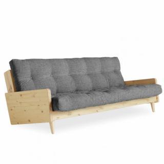 Canapé 3/4 places convertible INGRID style scandinave futon gris granit couchage 130*190 cm.