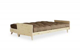 Canapé 3 places convertible INDIE style scandinave futon mocca couchage 130*190 cm.