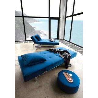 INNOVATION LIVING Meridienne design SPLITBACK LOUNGER bleu convertible lit 100*200cm