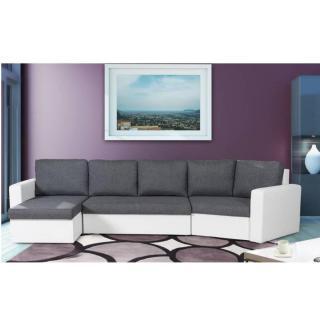 Canapé lit convertible gigogne ALTUS PRIZMA bi-matière anthracite et blanc