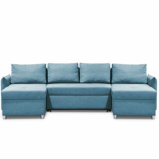 Canapé d'angle panoramique en U et convertible KIRSTEN Bleu Paon couchage 120x190cm Méridiennes Coffre
