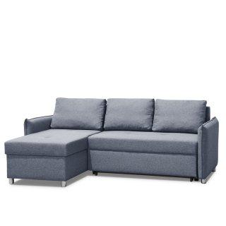 Canapé d'angle réversible et convertible KIRSTEN Gris anthracite couchage 120x190cm