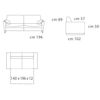 SORBONNE canapé OUVERTURE RAPIDO 140*196cm ouverture assistée tissu gris